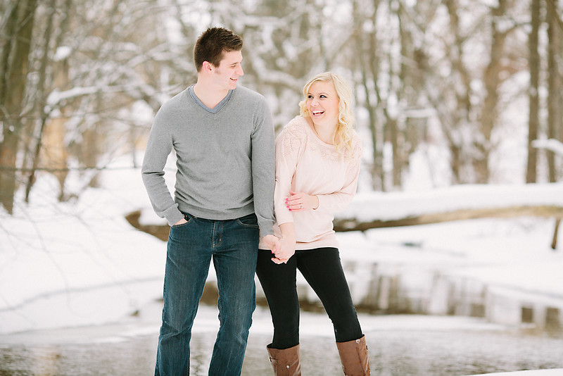wisconsin northwoods winter engagement photo