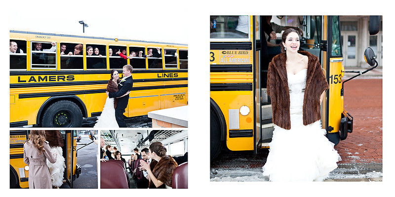 Traditional Catholic Wausua Wedding Wisconsin Wedding Photographer Yellow Bus Wedding transportation