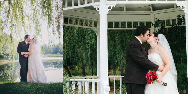 Willow Pond Bed and Breakfast Wisconsin Wedding Willow Tree Kissing by bond wedding couple married under tree