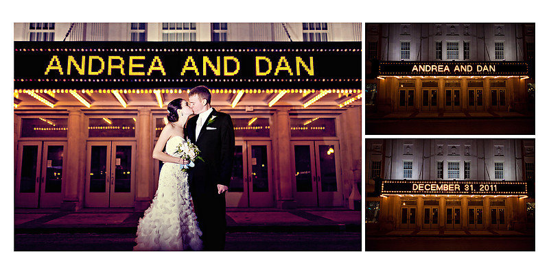 Grand Theater Wausau Wedding Photographer names in lights wedding