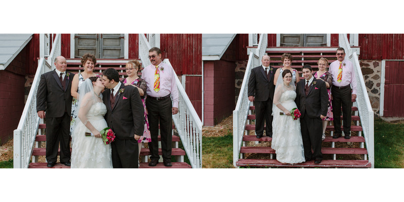Willow Pond Bed and Breakfast Wisconsin Wedding Barn steps wedding party photos